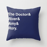 doctor Throw Pillows featuring Doctor& by Dweezle