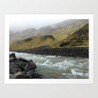 Waterfalls in Iceland Art Print