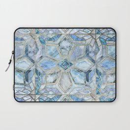 Geometric Gilded Stone Tiles in Soft Blues Laptop Sleeve