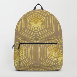 Gold coin pattern on pale taupe background for a rich bohemian look Backpack