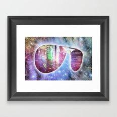 The city, the stars, and the avie shades. Framed Art Print