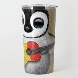 Baby Penguin Playing Belgian Flag Acoustic Guitar Travel Mug