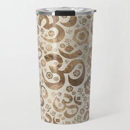 OM symbol pattern - pastel gold on canvas Travel Mug