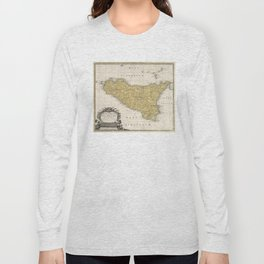Vintage Map of Sicily Italy (1747) Long Sleeve T-shirt
