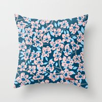 cherry blossom Throw Pillows featuring Cherry Blossom by Alannah Brid