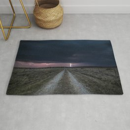 Darkness Falls - Lightning Strikes Down a Country Road at Night Rug