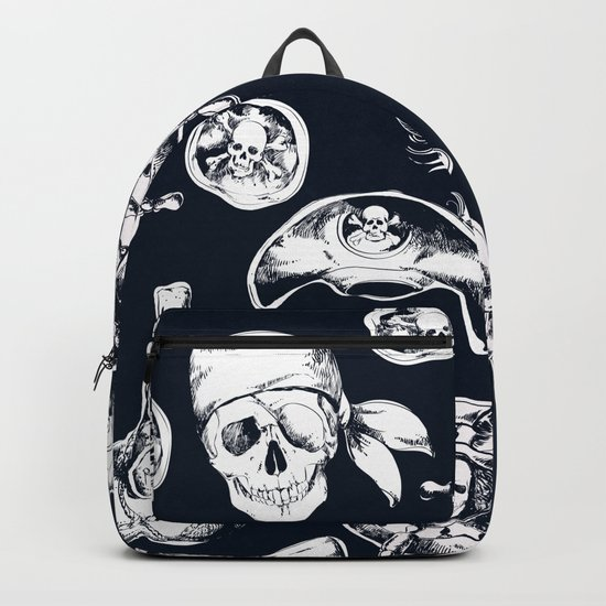 Navy Blue Pirate Pattern Backpack