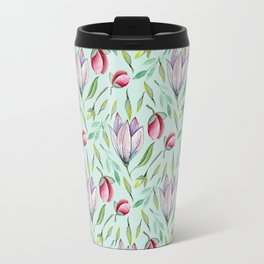 Pink green watercolor hand painted floral pattern Travel Mug