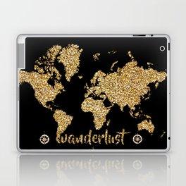 world map gold black wanderlust Laptop & iPad Skin
