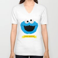 cookie monster V-neck T-shirts featuring C FOR COOKIE MONSTER by Emils Blums