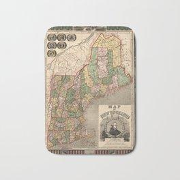 Map of New England 1847 Bath Mat