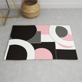 An abstract geometric pattern . Geometric shapes . Black pink white pattern . Rug