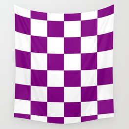 Large Checkered - White and Purple Violet Wall Tapestry