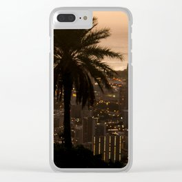 sunset over city Clear iPhone Case