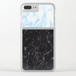 Light Blue Flower Meets Gray Black Marble #3 #decor #art #society6 Clear iPhone Case