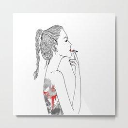 Sad Stabbed Lady Art Metal Print