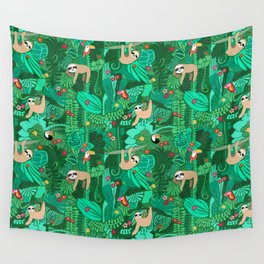 Sloths in the Emerald Jungle Pattern Wall Tapestry