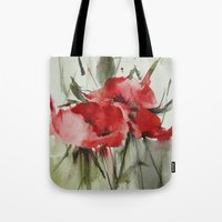 poppy Tote Bags featuring poppy# by annemiek groenhout