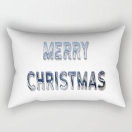 Merry Christmas Silver Greeting Rectangular Pillow