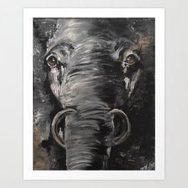 Bold and Serious Elephant Art Print