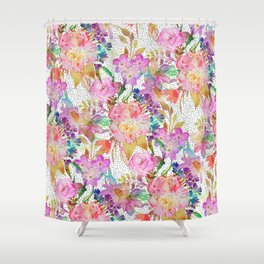 Elegant watercolor floral and dotted brush strokes Shower Curtain