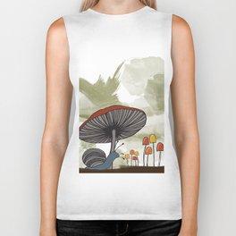 What's Underfoot -- Snail & Mushrooms Biker Tank