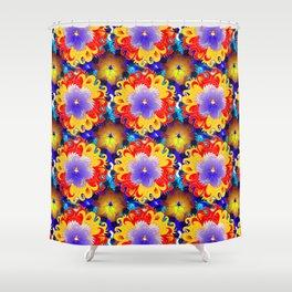 Fire Flower Kaleidoscope Shower Curtain