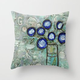 """""""Blue Flowers in a Vase"""" Mixed Media Throw Pillow"""