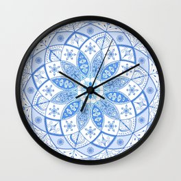 Blue Mandala Spirograph Art Pattern Design Rosette Wall Clock