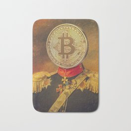 """Bit Coin Fanatic General   """"So Let Me Tell You About My Coin Base"""" Bath Mat"""