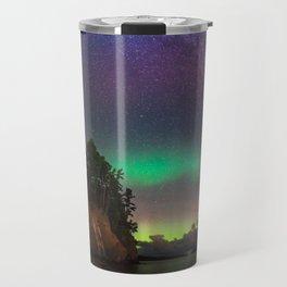 Hidden Beach Milky Way and Northern Lights Travel Mug