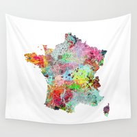 france Wall Tapestries featuring France map by Nicksman