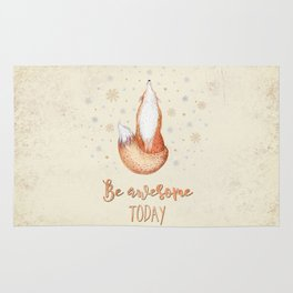 Be awesome today  - Watercolor animal illustration and Typography Rug