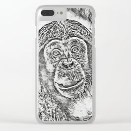 Chimpanzee 20161101 by JAMFoto Clear iPhone Case