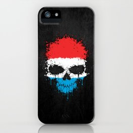 Flag of Luxembourg on a Chaotic Splatter Skull iPhone Case