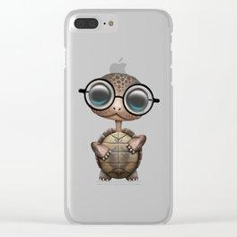Cute Nerdy Turtle Wearing Glasses Clear iPhone Case