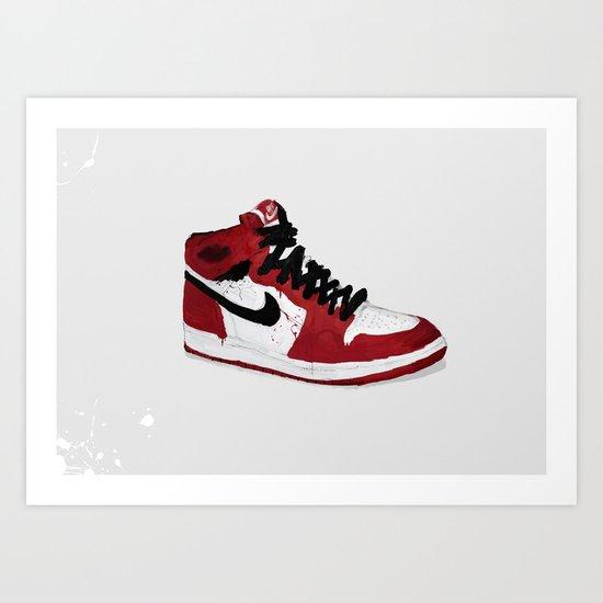 Nike Air Force 1 - Retro - Red & Black & White Art Print