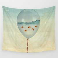 aqua Wall Tapestries featuring balloon fish by Vin Zzep