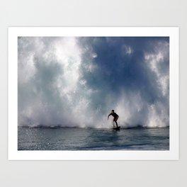 Surfing At The Wedge In Newport Beach, Califonia Art Print