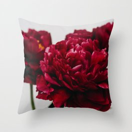 PEONIES RED CLUSTER Throw Pillow