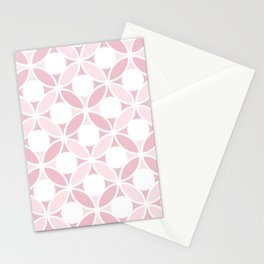 Geometric Orbital Spot Circles In Pastel Pinks & White Stationery Cards