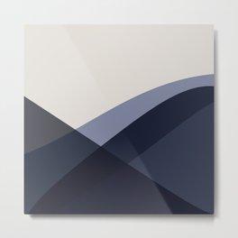 Minimal Waves - Blue Metal Print