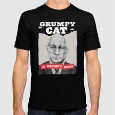 GRUMPY AS THE CAT  Mens Fitted Tee Black MEDIUM