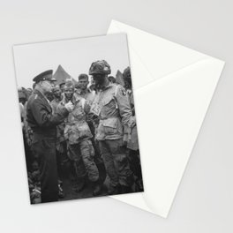 Eisenhower Talking With Airborne On D-Day Stationery Cards