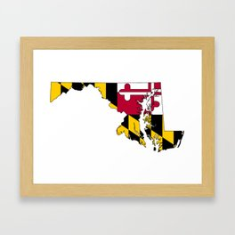 Map of Maryland with Maryland State Flag Framed Art Print