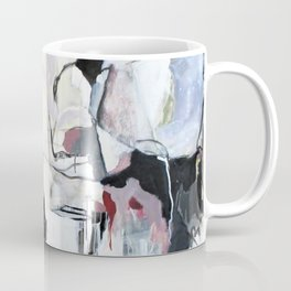 Many Road Abstract Contemporary Artwork Lines Marks Pink Black White Coffee Mug