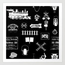 Railroad Symbols on Black Art Print