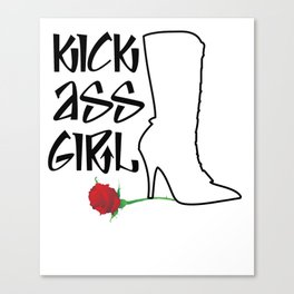 Kick Ass Girl Stiletto Boots Rose Grace Strength Canvas Print