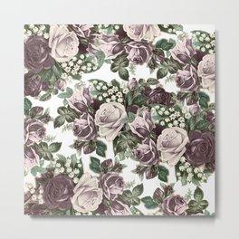 Vintage bohemian burgundy white roses floral Metal Print