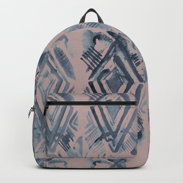 Simply Ikat Ink in Indigo Blue on Clay Pink Backpack